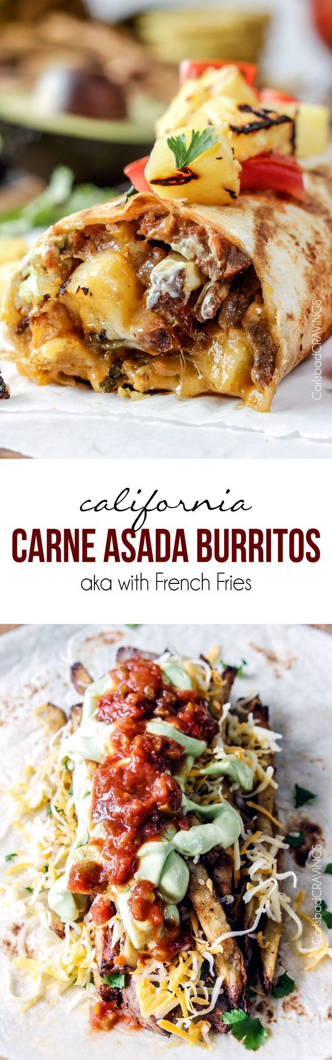 Better than takeout California Carne Asada Burritos stuffed with thinly sliced, tender marinated Carne Asada, cheese, salsa, avocado crema (pineapple optional) and the best part - Mexican French Fries!!! so easy, great for crowds at a fraction of the cost