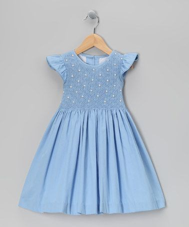Take A Look At This Blue Smocked Angel Sleeve Dress