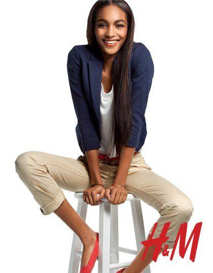Jourdan Dunn for H&M loving the blazer-khakis-neon flats combo!