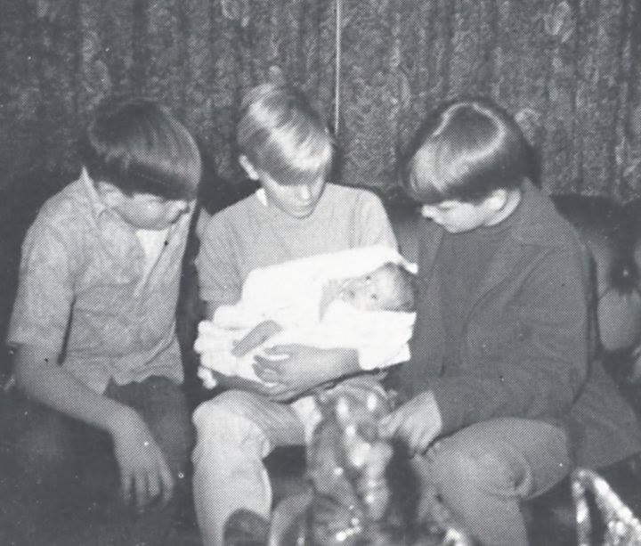Stanley brothers and baby Lisa Marie.  ELVIS by the Stanlelys: Here's a photo of 3 proud Uncles and Lisa... This was the day she came home to Graceland... It was great day for the family, Elvis was so proud, he was handing out cigars... Everyone was so happy for Elvis, we even started calling him Papa Elvis... LOL!!!