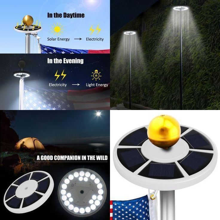American Flag Pole Light Solar LED Night Lights Outdoor Weatherproof Auto ON/OFF #BusinessSigns
