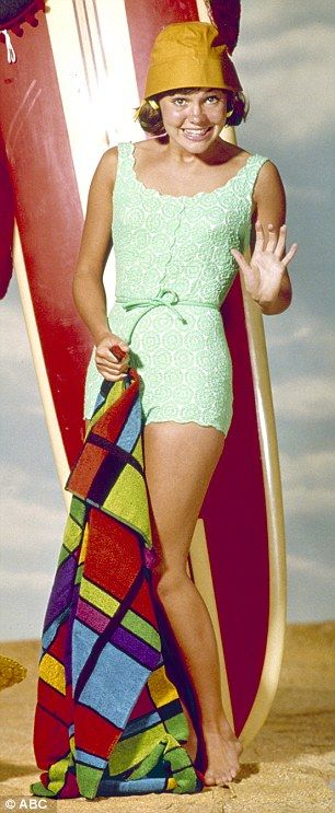 Now and then: Sally looked like she hasn't aged in years and is just as pretty as she was in 1965 when she played TV's Gidget and posed with a surfboard'