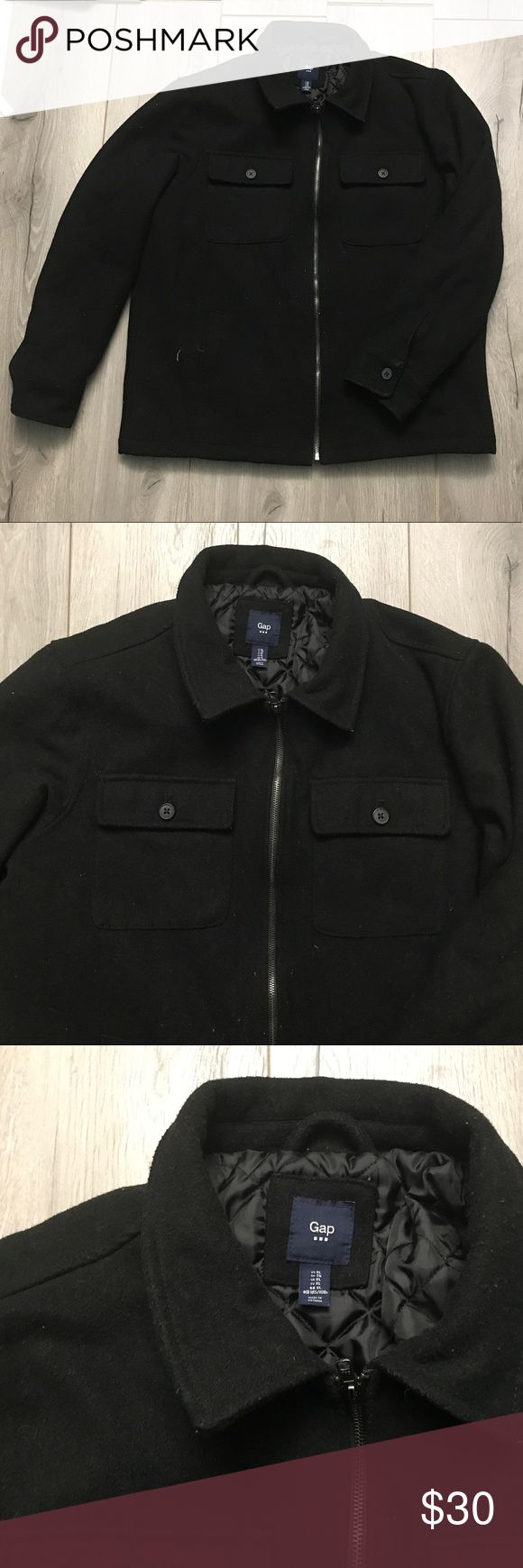 Gap - Jacket (Men's L) Black Jacket, men's X Large. FITS LIKE A LARGE! The white stuff on the jacket is lint, nothing a lint roller won't fix :) in great condition! :) Can also fit a large. taking offers! GAP Jackets & Coats