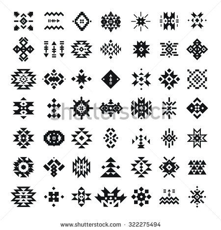 Abstract geometric elements, pattern, ethnic collection, aztec icons, tribal art, for design logo, cards, backgrounds