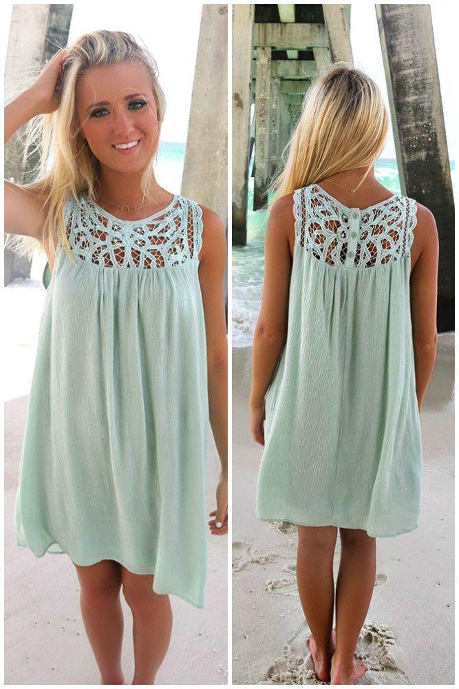 Cardiff Beach Sage Lace Neckline Crinkle Dress