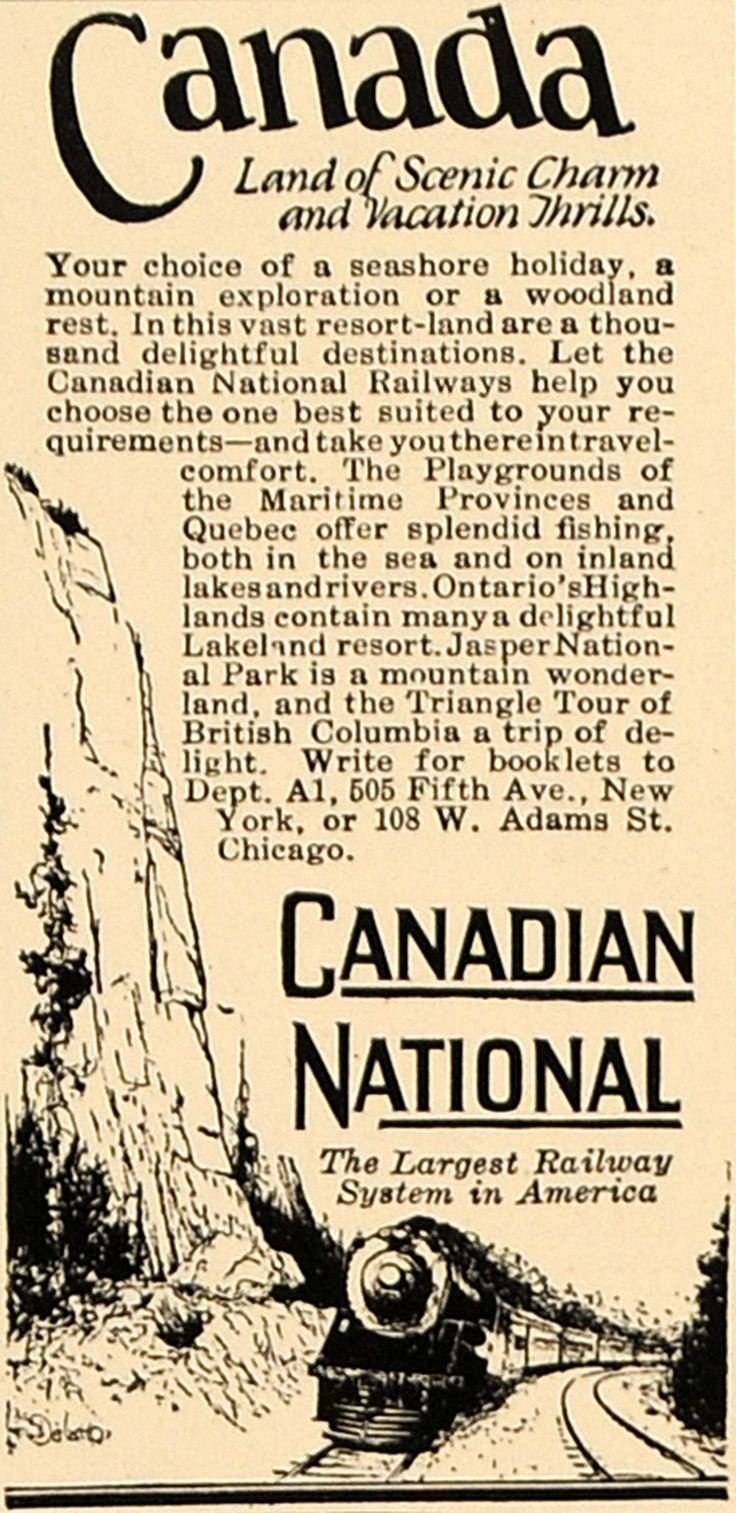 1926 Ad Canadian National Railways Canada Tourism - ORIGINAL ADVERTISING CL8
