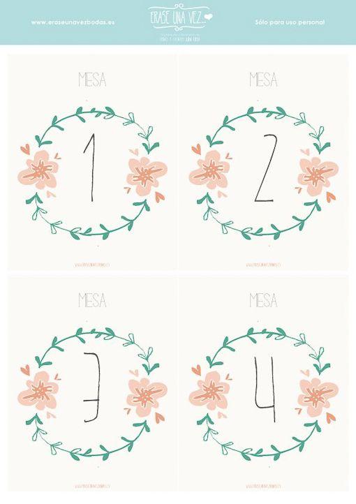 números de mesa imprimibles gratis en español boda                                                                                                                                                                                 Más