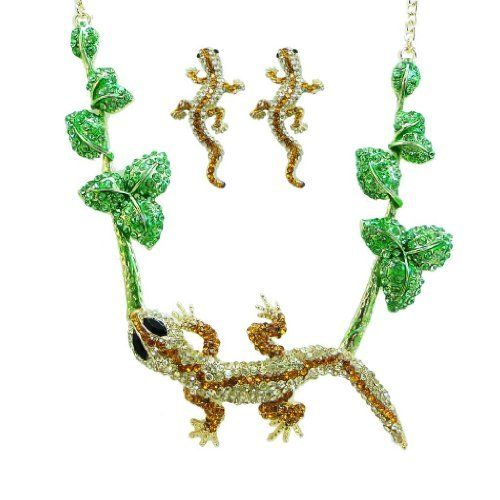 Ever Faith Gecko Floral Leaf Austrian Crystal Topaz Reptile Animal Necklace Earring Set Ever Faith. $32.95. The necklace is in shape of a big lovely gecko on the center, also with some green floral leaves decorated around.. Necklace Size 24.41.Earring Size 1.93 long by 0.94 wide.. Pierced stud earrings. Also many other colors for you to choose in our store.