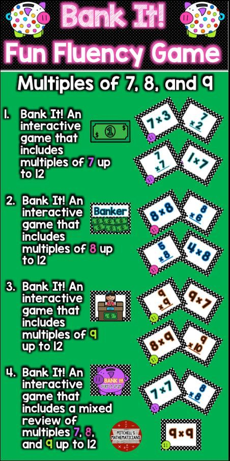 Multiplication fact fluency 7 8 9 and mixed to 12 for 12 times table games
