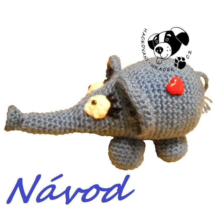 Sloník pro štěstí - návod na háčkování ____________ #slon#sloník#elephant#crochet#háčkovaný#hračka#toy#návod#pattern#PDF
