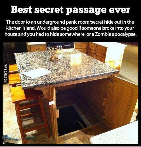 Hidden Room panic room | basement | zombie apocalypse | secret passage | interior design | kitchen Kitchen Basement