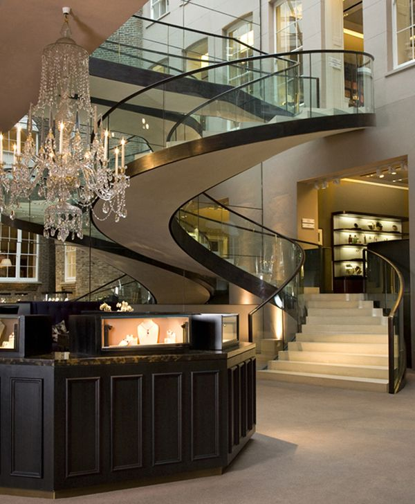 glass-marble staircase: so elegant. the spiral adds a modern twist.