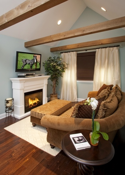 An electric fireplace warmed up the master seating nook for Bedroom electric fireplace