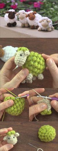 Häkeln Sie niedliche Puff Schafe   – häckel leicht gemacht