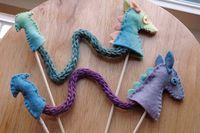 Dragon puppet - good way to use some finger knitting