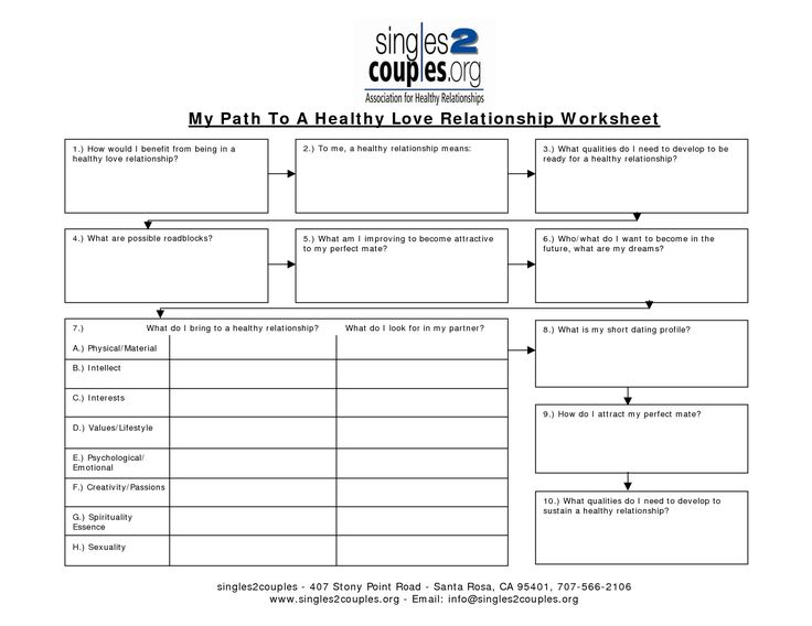 Healthy Relationships Worksheets