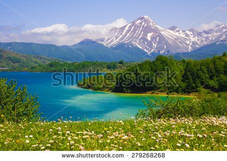 Panoramic view of Campotosto lake in the spring. #Campotosto #Lake #Landscape #Mountains #Abruzzo #Travel #Tourism #Italy #Daisy #Flowers #Holiday