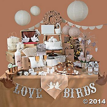 Love Birds theme Wedding decorations on a budget -Orientaltrading.com