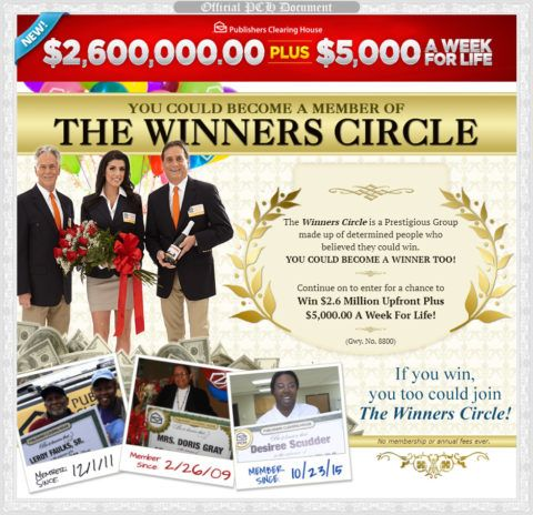 The PCH Winners Circle is made up of determined people who