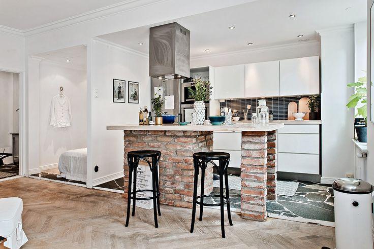 шведский интерьер кухни-гостиной