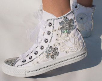 Customized wedding converse trainers with by TheCherishedBride