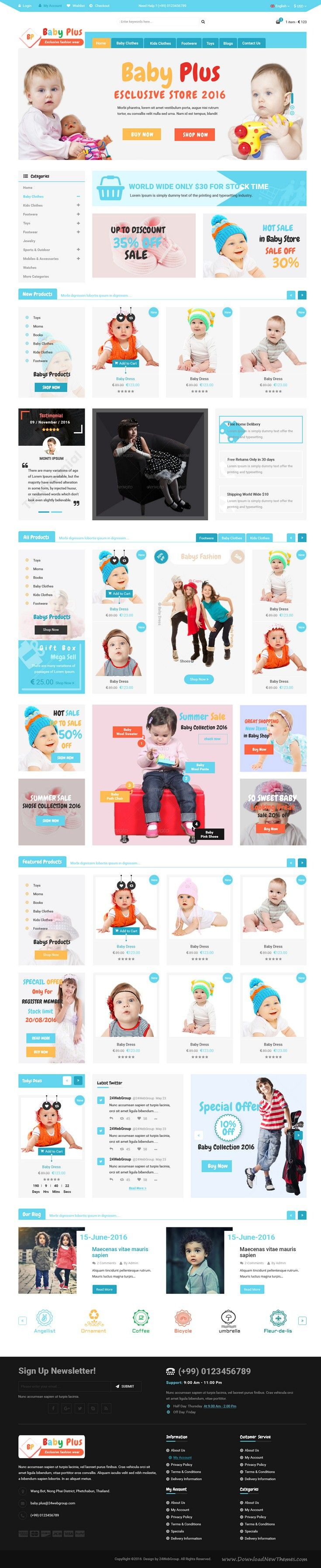 BabyPlus is wonderful eCommerce PSD template for for baby, #child, #toys, #clothing or fashion #store websites. Download Now!