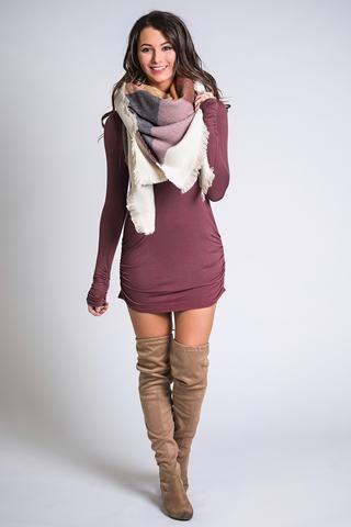 Side Cinch Long Sleeve Basic Tunic Top (Red Bean) - NanaMacs.com - 1