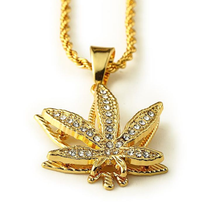 Bling Big Gold Chain For Men/Women 18K Real Gold Plated Overlap Leaf Pendant Statement Necklace Unisex Hiphop Jewelry