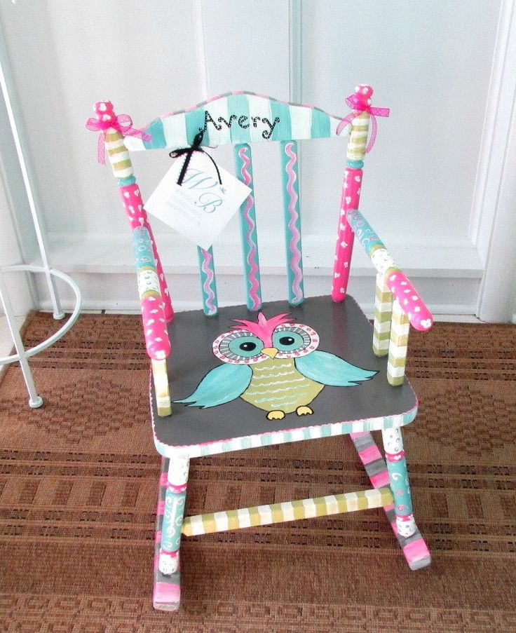 Child Rocking Chair Hand Painted Personalized and by MollieBurd, $150.00