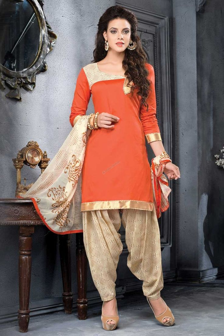 Orange Cotton Patiala Salwar Suit with Chiffon Dupatta Andaaz Fashion Malaysia Presents Orange cotton, printed print, semi stictch patiala suit.   Sweetheart neck, Above knee length, quarter sleeves kameez.   Cream cotton patiala salwar.   Cream chiffon dupatta with lace border with work. http://www.andaazfashion.com.my/orange-cotton-patiala-salwar-suit-with-chiffon-dupatta.html