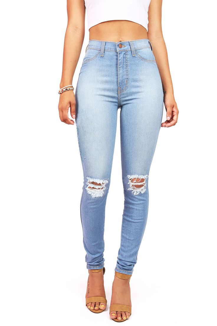 Kneecap Shred High Waist Skinny Jeans