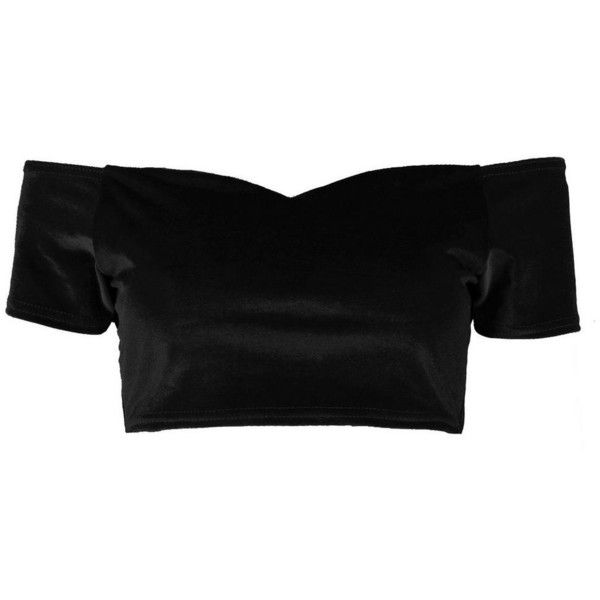 ff820dd8e8c525 Boohoo Fiona Velvet Bardot Crop Top (320 INR) ❤ liked on Polyvore featuring  tops