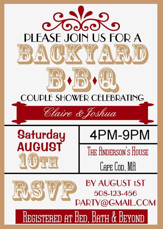 Backyard BBQ Couple Wedding Shower Invite