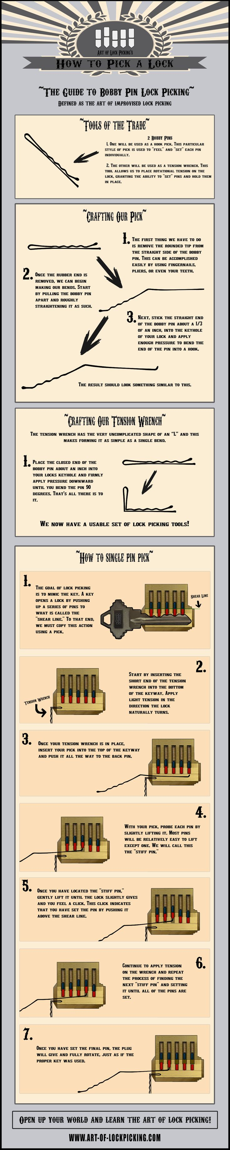 How to pick a lock with a bobby pin useful life hacks