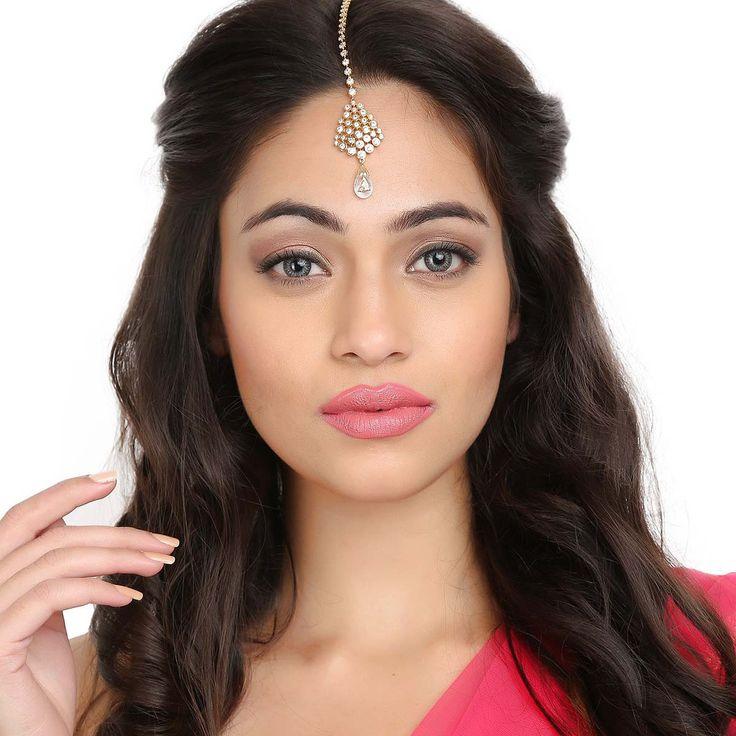 Zircon Tikka TA315G #Kushals #Jewellery #FashionJewellery #IndianJewellery  #WeddingAccessories #Maang Tikka #Zircon