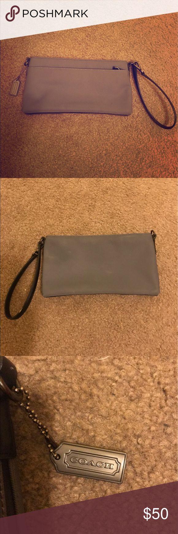 "COACH Mercer Demi Pochette Bag Gently used. Grey twill w/ black leather trim. Dark silver hardware. Zip top closure. 1 exterior zip pocket. Shoulder bag that converts to wristlet. 9.5""Lx5""Hx1.25""D. Coach Bags Clutches & Wristlets"
