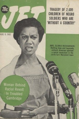 """Gloria Richardson was the leader of the Cambridge Movement, a struggle for civil rights and economic opportunities in Cambridge, Maryland. In June 1963, the Cambridge protests escalated into a major riot. Gov. J. Millard Tawes imposed martial law and sent in the National Guard. Robert F. Kennedy, other Justice Department and housing officials, brokered a five-point """"Treaty of Cambridge""""signed by the attorney general and local black leadership, including Richardson, and Cambridge officials."""