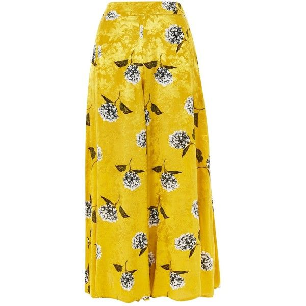 TopShop Floral Print Palazzo Trousers ($95) ❤ liked on Polyvore featuring pants, mustard, high-waisted trousers, high waisted pants, mustard yellow pants, high waisted palazzo trousers and yellow pants
