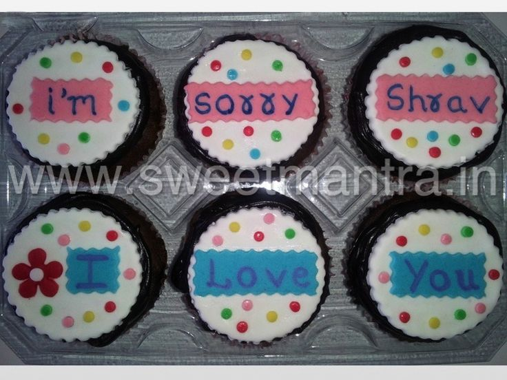 Homemade Eggless Custom Sorry theme cupcakes at Model Colony, Pune