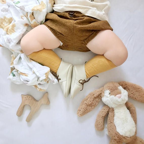Ivory Baby Leather Oxfords Boots Genuine Leather Moccasins
