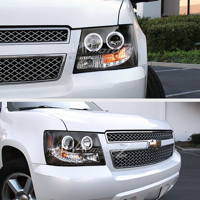 2007-2014 CHEVY AVALANCHE SUBURBAN TAHOE Halo LED Projector Headlight Lamp Black #VIPMOTOZ