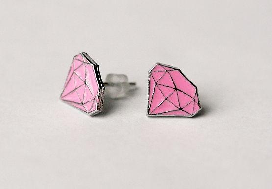 Diamond -Nappikorvakorut -Vaaleanpunainen