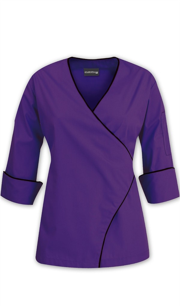 Women's Wrap Chef Coat - Contrast Piping - 100% Cotton $27.99 http://www.chefuniforms.com/chef-coats/womens-chef-coats/88310-womens-wrap-coat.asp?frmcolor=hpbla