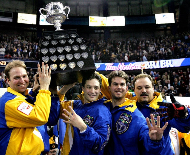 Mens Curling.  Alberta's Team Ferbey wins the Brier in March 2005. Lead Marcel Rocque, second Scott Pfeifer, third Dave Nedohin and skip Randy Ferbey