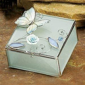 Glass Jewelry Trinket Box with Butterfly & Rose