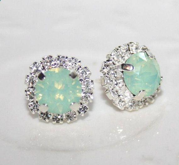 Seafoam Mint Green Silver Earrings Swarovski by AngelPearls, $31.00