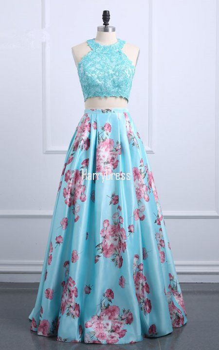 Blue Floral Print Satin Sweep Train Sleeveless Floor Length Lace Appliques Prom Dress
