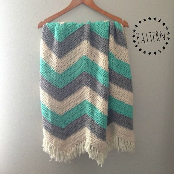 Chevron Crochet Baby Blanket Pattern by catandcrown on Etsy, $4.75