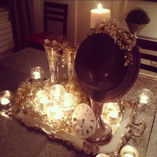 New Year's Eve NYE centre piece: Hat, candles, clock,  champagne, crystal, silver, gold
