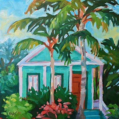 """My house  paint color    Yea! I found the right one!!      Daily Paintworks - """"Key West Green House"""" - Original Fine Art for Sale - © Mary Anne Cary"""